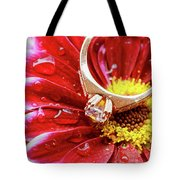 rings pink dahlias love Valentine's Day Tinted  and softened - diamond wedding  Tote Bag