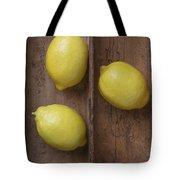 Ripe Lemons In Wooden Tray Tote Bag