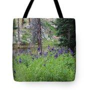 Ripples Behind Wildflowers Tote Bag