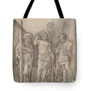 Risen Christ Between Saints Andrew And Longinus Tote Bag