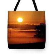 Rising Sun Lighting Ground Fog Tote Bag