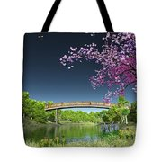 River Bridge Cherry Tree Blosson Tote Bag
