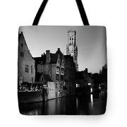 River Dijver And The Belfort At Night, Rozenhoedkaai, Bruges Tote Bag