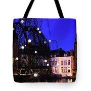 River Dijver, Rozenhoedkaai Area At Night, Bruges City Tote Bag
