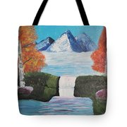 River Flowing Through Mountains Tote Bag