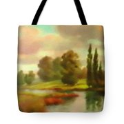River Flowing Through The Landscape H B Tote Bag