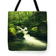 River In A Green Forest Tote Bag