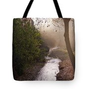 River In Afternoon Sunhaze  Tote Bag