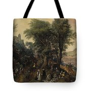 River Landscape In The Spring With Castle And Noblemen Tote Bag