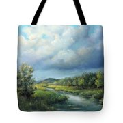 River Landscape Spring After The Rain Tote Bag by Katalin Luczay