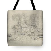 River Landscape With Buildings, Boats, And Figures Tote Bag