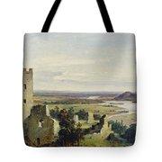 River Landscape With Castle Ruins Tote Bag