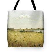 River Landscape With Cornfield Tote Bag