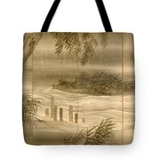 River Landscape With Fireflies  Tote Bag