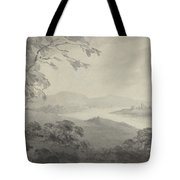 River Landscape With Ruins Tote Bag
