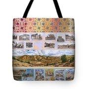 River Mural Autumn Panel Top Half Tote Bag
