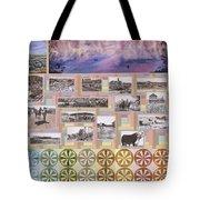 River Mural Summer Panel Bottom Half Tote Bag