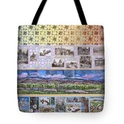 River Mural Summer Panel Top Half Tote Bag