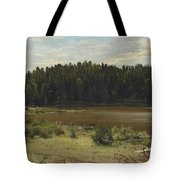River On The Edge Of A Wood Tote Bag