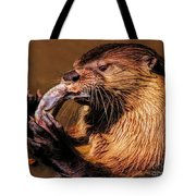 River Otter With His Catch Of The Day Tote Bag