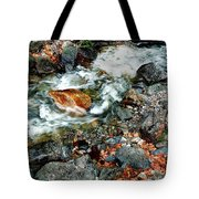 River Rock Leaves Tote Bag