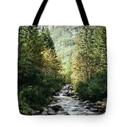 River Stream In Mountain Forest Tote Bag