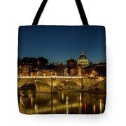 River Tiber And Vatican At Night Tote Bag