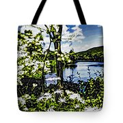 River View Through Flowers. On The Bridge Of Flowers. Tote Bag