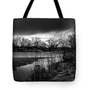 River With Dark Cloud In Black And White Tote Bag