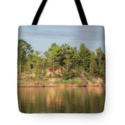 Riverbank Along The Red Tote Bag
