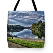 Riverbank Boats Tote Bag