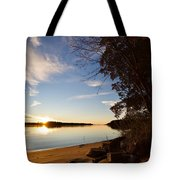 Riverbank Sunset Tote Bag