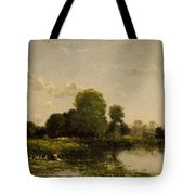 Riverbank With Fowl Tote Bag