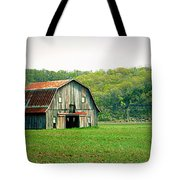Riverbottom Barn In Spring Tote Bag