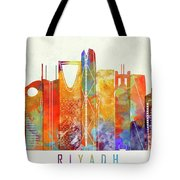 Riyadh Landmarks Watercolor Poster Tote Bag