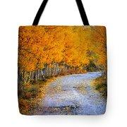 Road Between Trees Tote Bag
