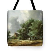 Road In The Dunes With A Passenger Coach After The Rain1631 Tote Bag
