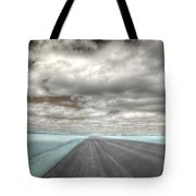 Road Sky Infrared Clouds Landscape Open Road Travel Path Road Trip Tote Bag