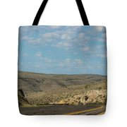 Road Through New Mexico Desert High Noon Tote Bag
