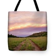 Road Through New Mexico Landscape At Sunrise Tote Bag