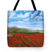 Road Through The Poppy Field Tote Bag