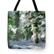Road Through The Snow Tote Bag