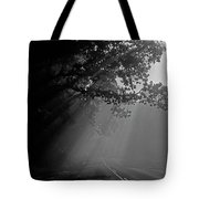 Road With Early Morning Fog Tote Bag