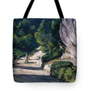 Road With Trees In Rocky Mountains Tote Bag