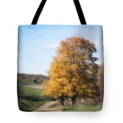 Roadside Tree In Autumn Tote Bag