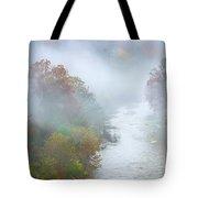 Roanoke River And Fog Tote Bag