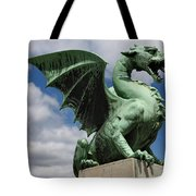 Roaring Winged Dragon Sculpture Of Green Sheet Copper Symbol Of  Tote Bag