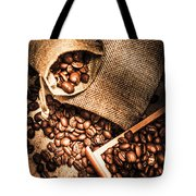 Roasted Coffee Beans In Drawer And Bags On Table Tote Bag