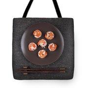 Roasted Shrimps Served On Plate Tote Bag