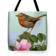 Robin And Camellia Flower Tote Bag